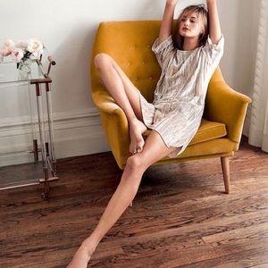 Floreat Crinkled Velvet Nude Champagne Tunic Dress